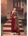 Maroon Designer Embroidered Party Wear Palazzo Suit