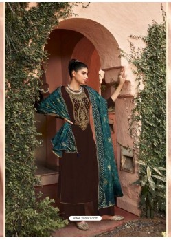 Coffee Designer Embroidered Party Wear Palazzo Suit
