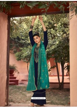 Navy Blue Designer Embroidered Party Wear Palazzo Suit