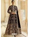 Black Heavy Embroidered Designer Velvet Wedding Wear Anarkali Suit