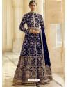 Royal Blue Heavy Embroidered Designer Velvet Wedding Wear Anarkali Suit