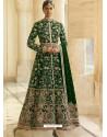 Forest Green Heavy Embroidered Designer Velvet Wedding Wear Anarkali Suit