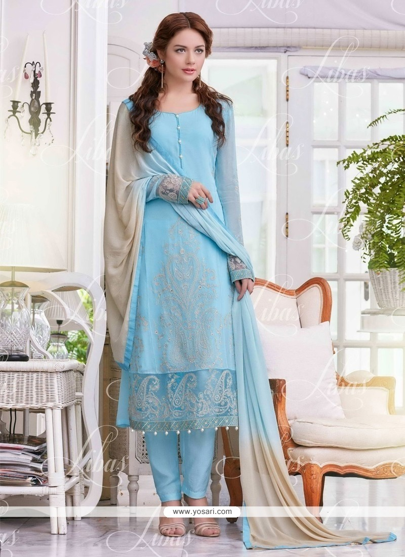 Demure Georgette Embroidered Work Salwar Suit
