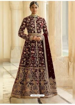 Maroon Heavy Embroidered Designer Velvet Wedding Wear Anarkali Suit