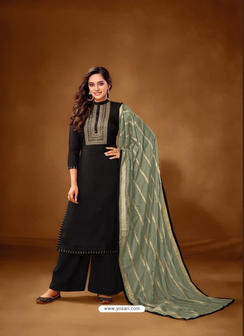 Black Designer Party Wear Pure Cotton Lawn Palazzo Suit