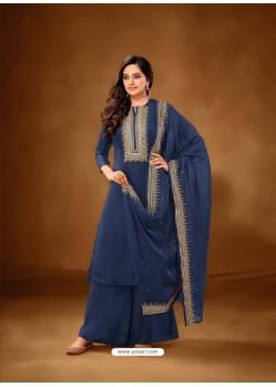 Navy Blue Designer Party Wear Pure Cotton Lawn Palazzo Suit