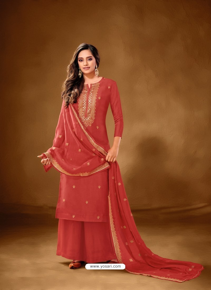 Red Designer Party Wear Pure Cotton Lawn Palazzo Suit