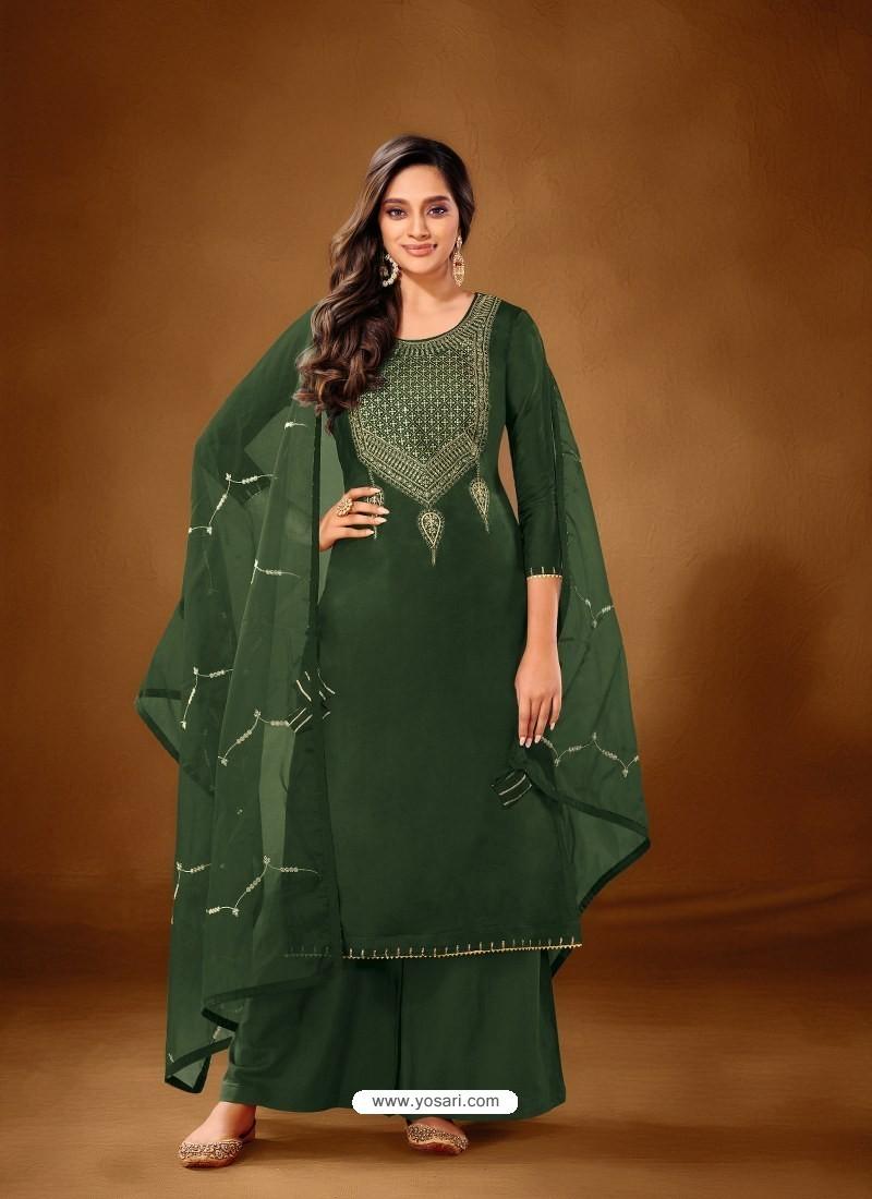 Dark Green Designer Party Wear Pure Cotton Lawn Palazzo Suit