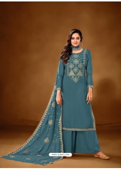 Blue Designer Party Wear Pure Cotton Lawn Palazzo Suit