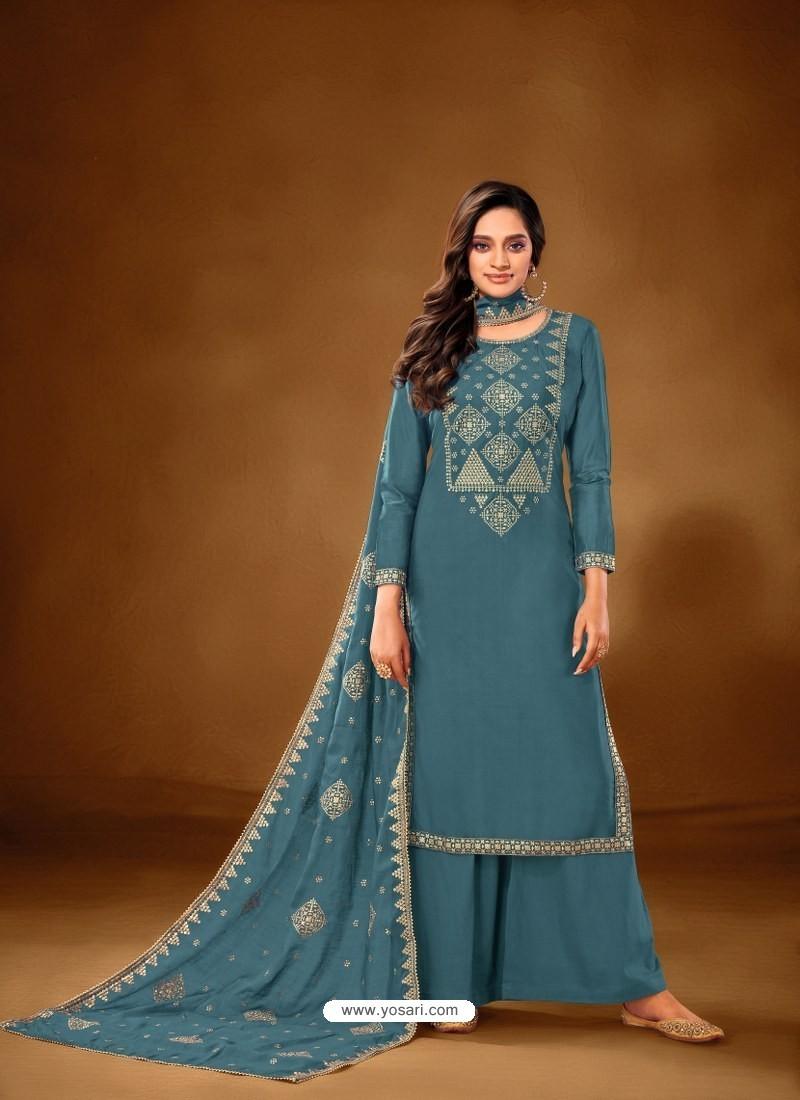 Blue Designer Party Wear Pure Cotton Lawn Palazzo Suit