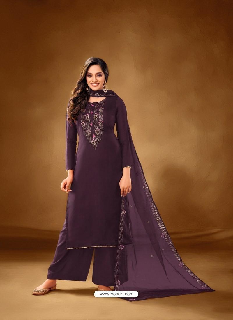 Purple Designer Party Wear Pure Cotton Lawn Palazzo Suit
