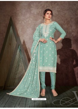 Aqua Mint Designer Party Wear Chanderi Churidar Salwar Suit