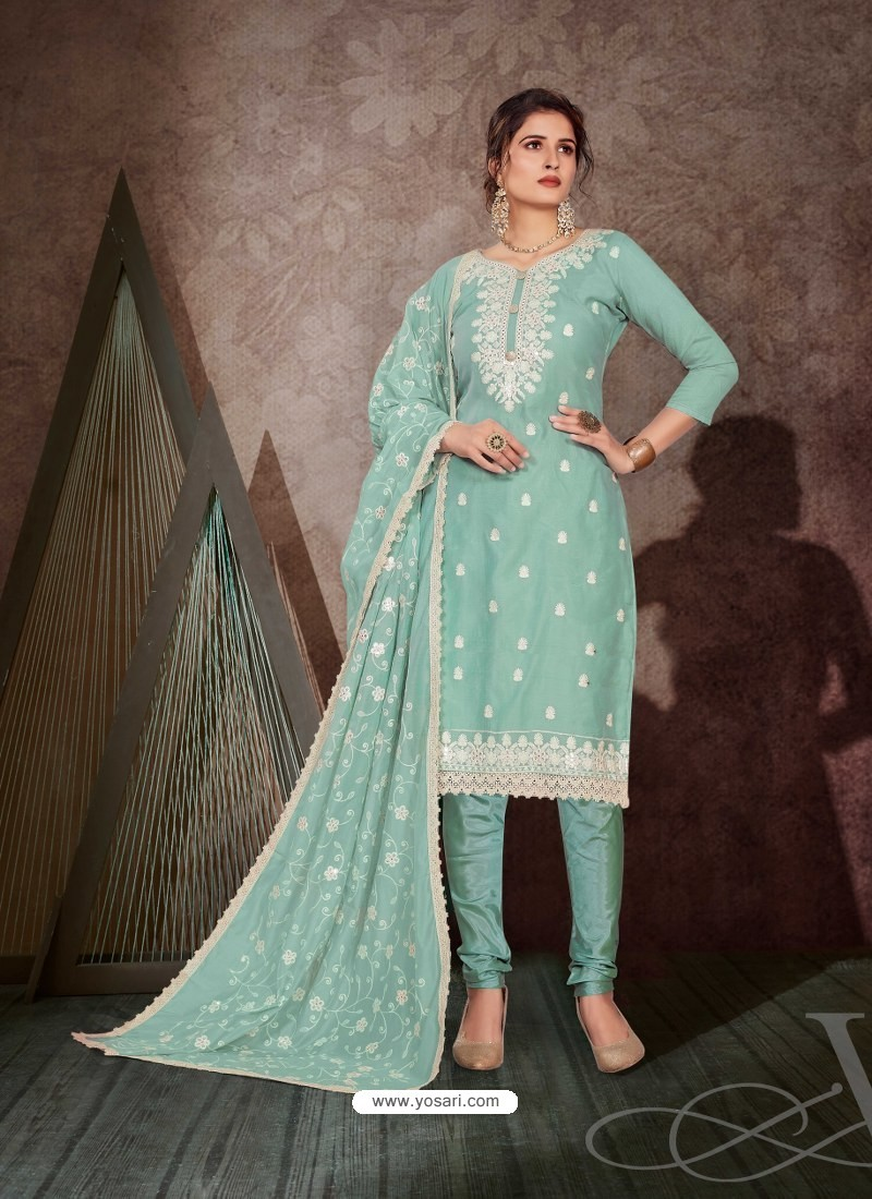 Aqua Mint Designer Party Wear Chanderi Churidar Salwar Suit