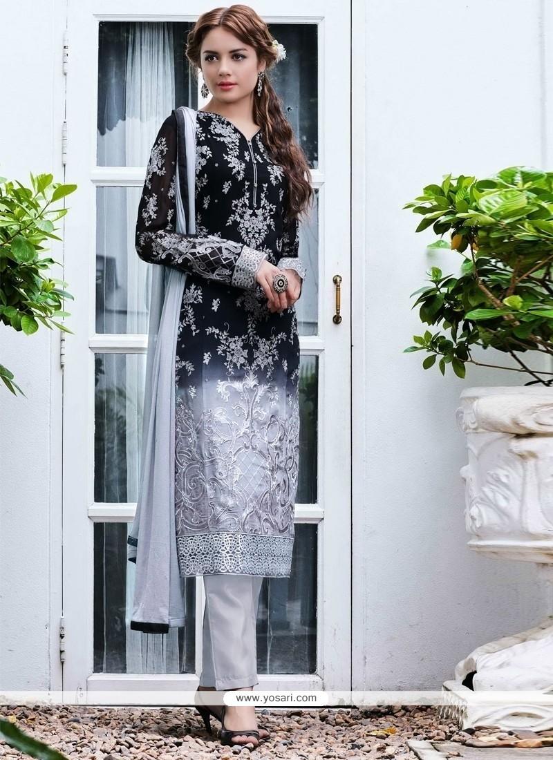 Gilded Georgette Embroidered Work Designer Salwar Kameez