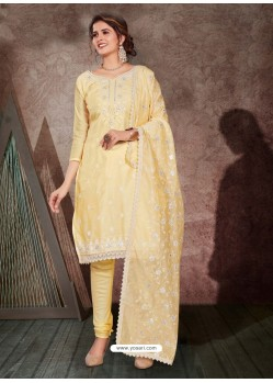 Light Yellow Designer Party Wear Chanderi Churidar Salwar Suit