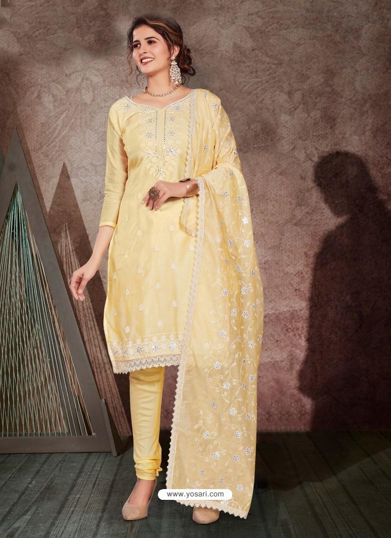 Light Yellow Designer Party Wear Chanderi Churidar Salwar Suit