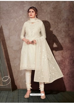 Off White Designer Party Wear Chanderi Churidar Salwar Suit
