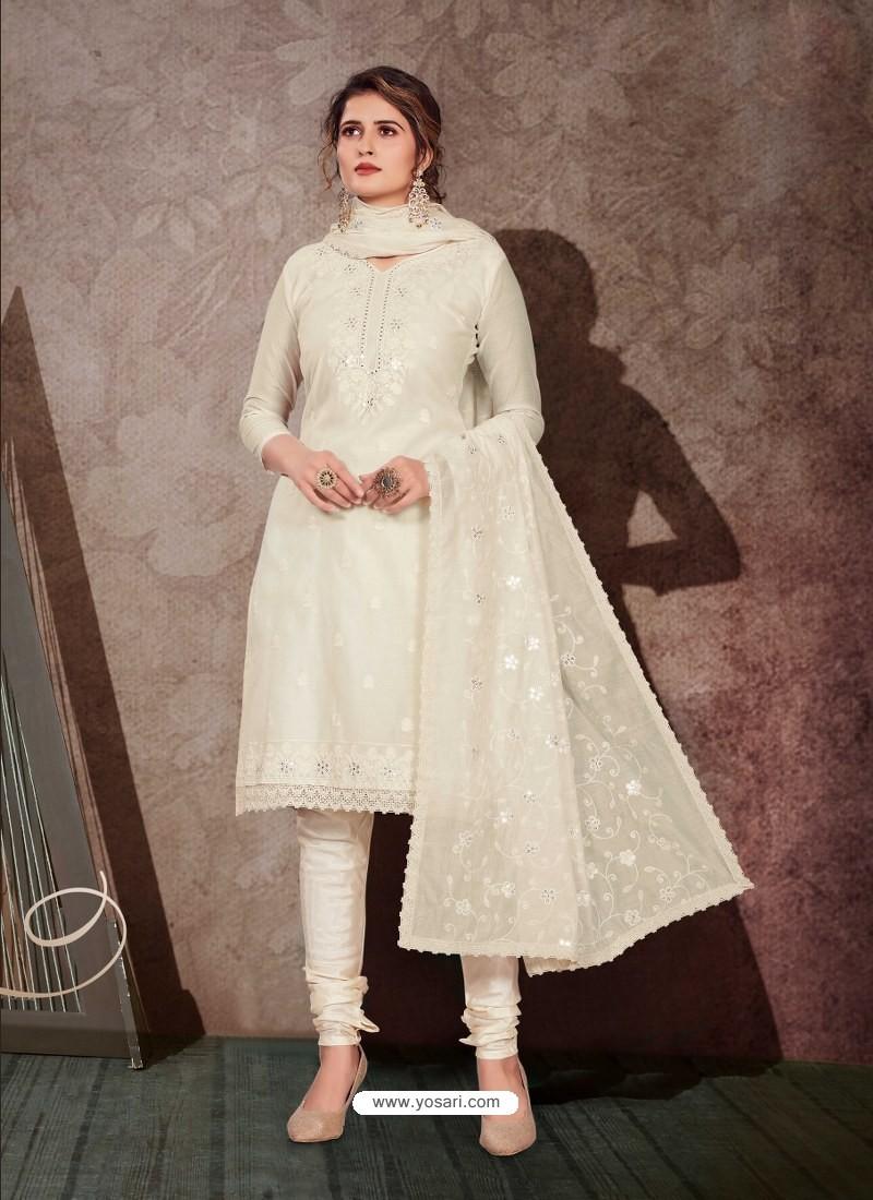 Off White Designer Party Wear Chanderi Churidar Salwar Suit