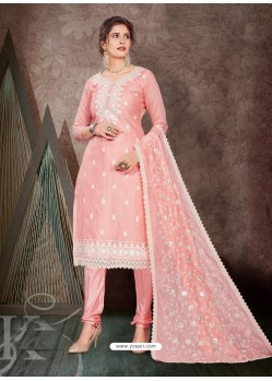 Baby Pink Designer Party Wear Chanderi Churidar Salwar Suit