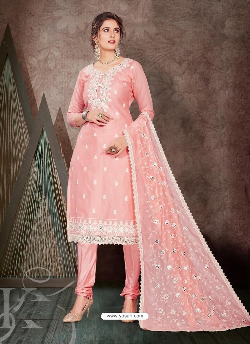 Baby Pink Designer Party Wear Chanderi Churidar Salwar Suit
