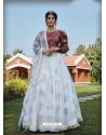 White Radiant Heavy Embroidered Designer Party Wear Lehenga
