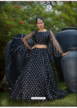 Black Radiant Heavy Embroidered Designer Party Wear Lehenga