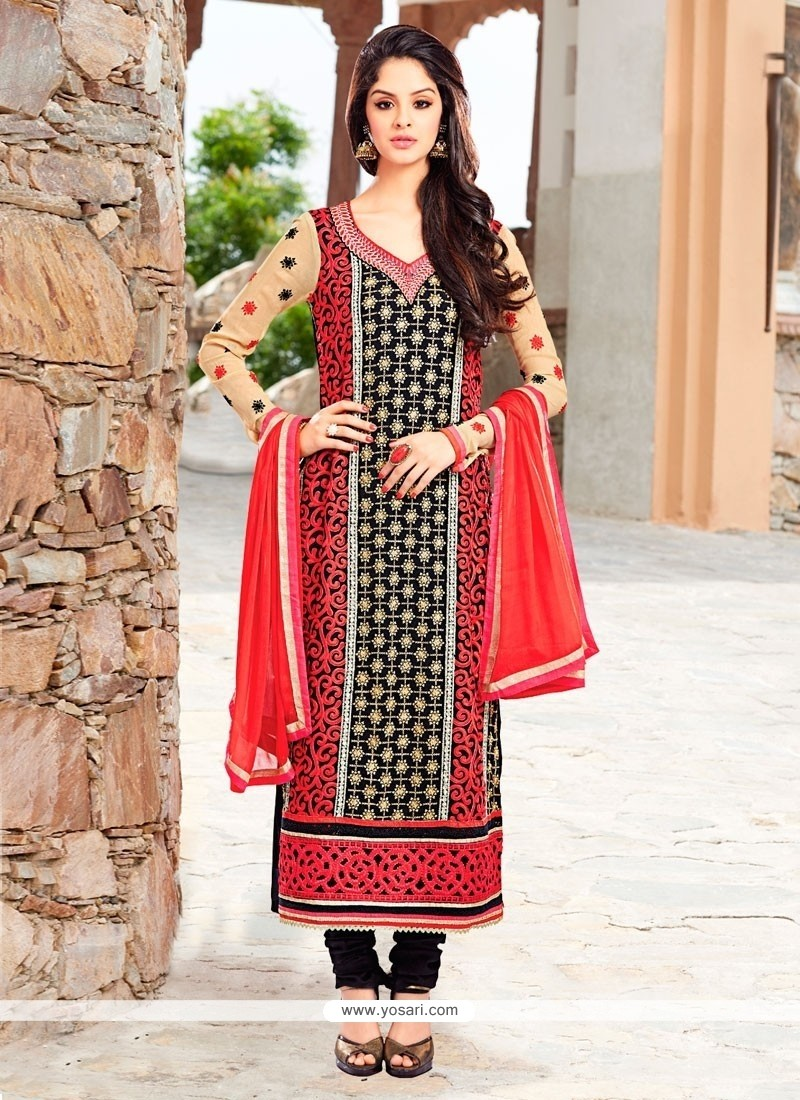 Marvelous Black Embroidered Work Churidar Salwar Kameez