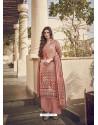 Peach Designer Party Wear Pure Viscose Fine Silk Salwar Suit