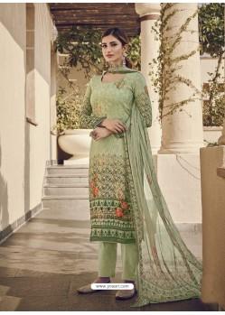 Green Designer Party Wear Pure Viscose Fine Silk Salwar Suit