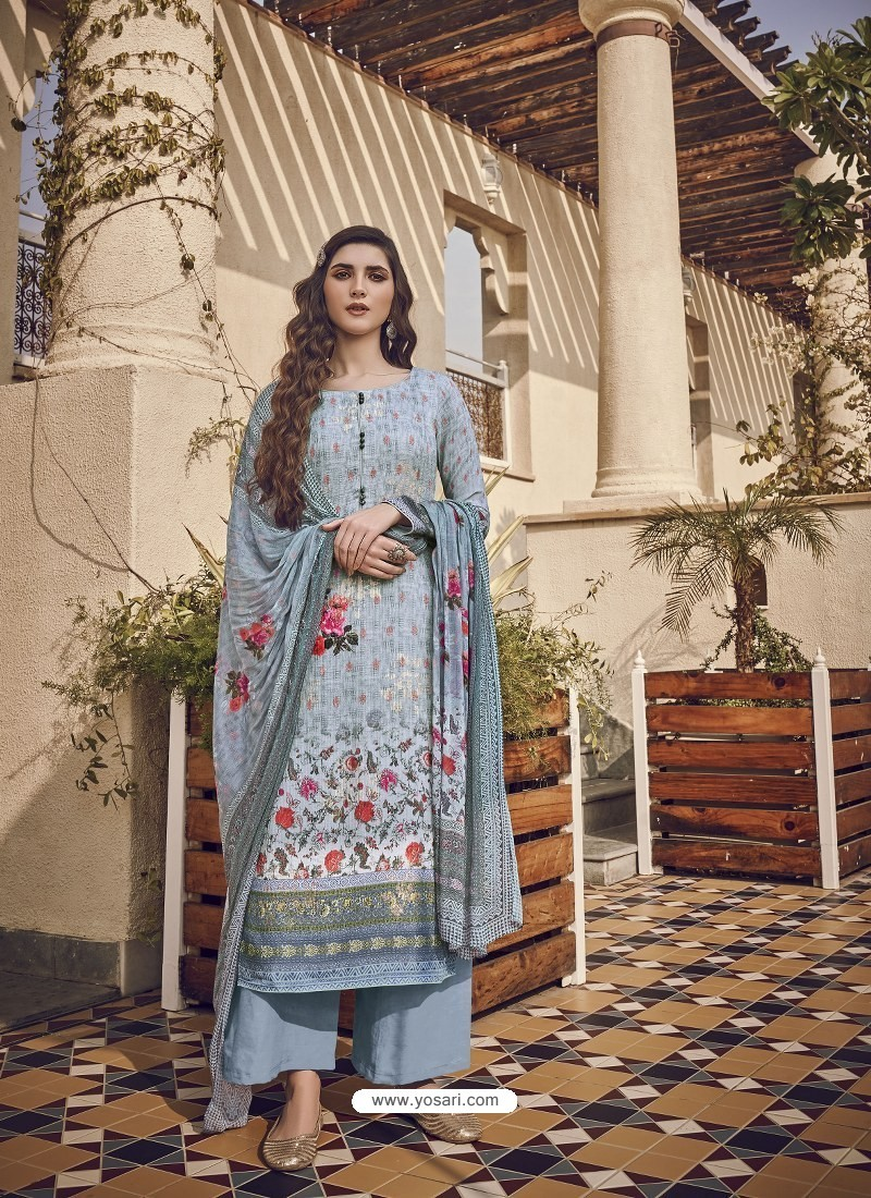 Aqua Grey Designer Party Wear Pure Viscose Fine Silk Salwar Suit