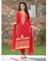 Awesome Red Resham Work Georgette Churidar Salwar Kameez