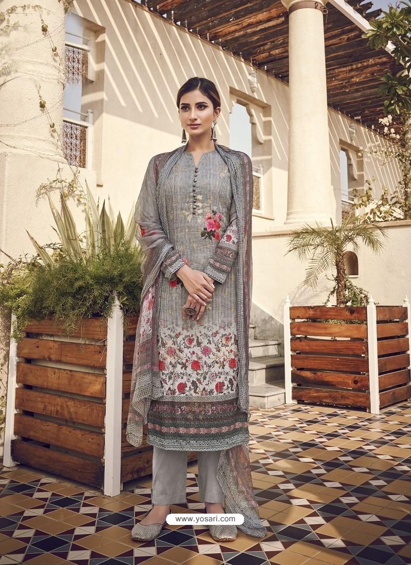 Light Grey Designer Party Wear Pure Viscose Fine Silk Salwar Suit