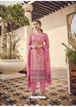 Pink Designer Party Wear Pure Viscose Fine Silk Salwar Suit