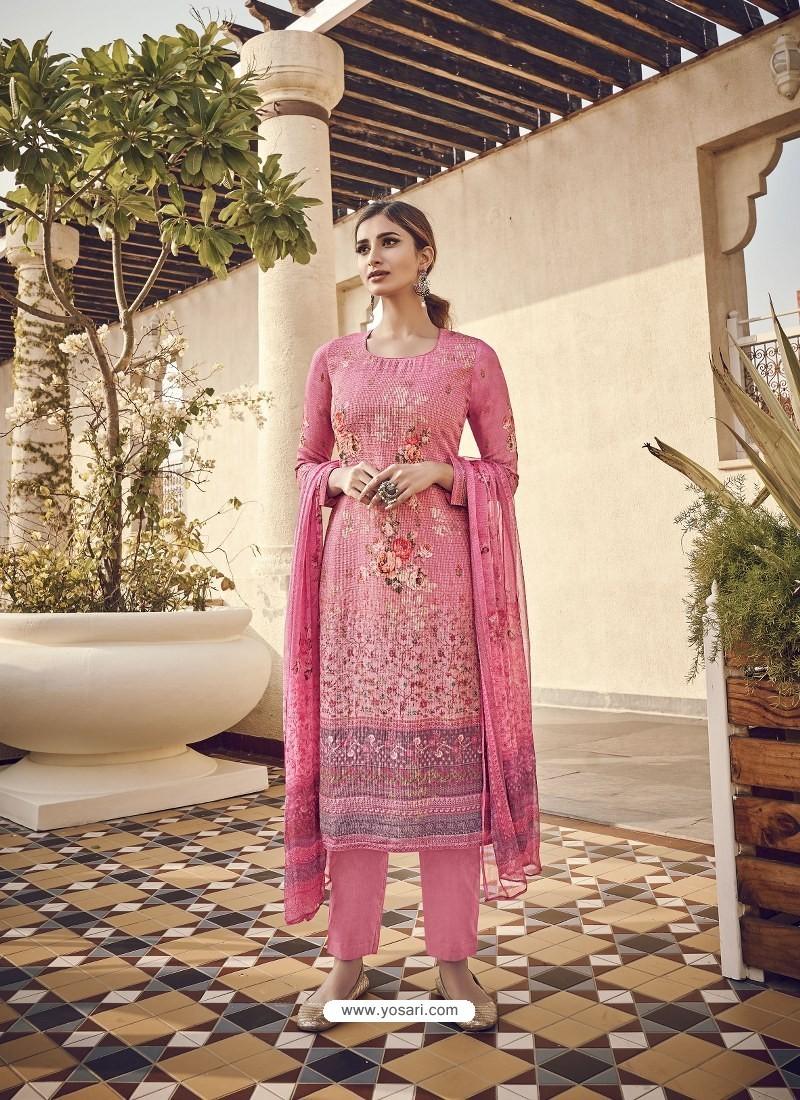 Pink Designer Party Wear Pure Viscose Fine Silk Salwar Suit
