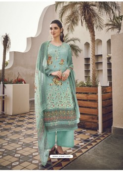 Grayish Green Designer Party Wear Pure Viscose Fine Silk Salwar Suit