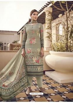 Taupe Designer Party Wear Pure Viscose Fine Silk Salwar Suit