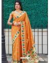 Orange Designer Classic Party Wear Pure Banarasi Silk Sari