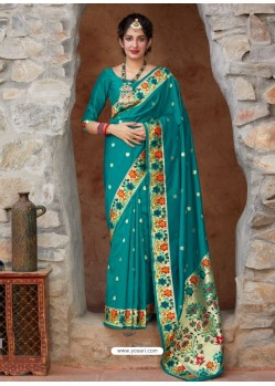 Teal Designer Classic Party Wear Pure Banarasi Silk Sari