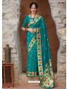 Teal Designer Classic Party Wear Pure Banarasi Silk Sari