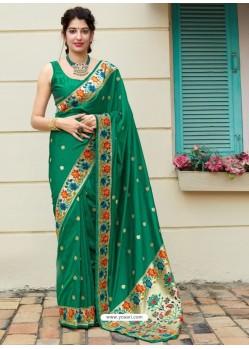 Dark Green Designer Classic Party Wear Pure Banarasi Silk Sari