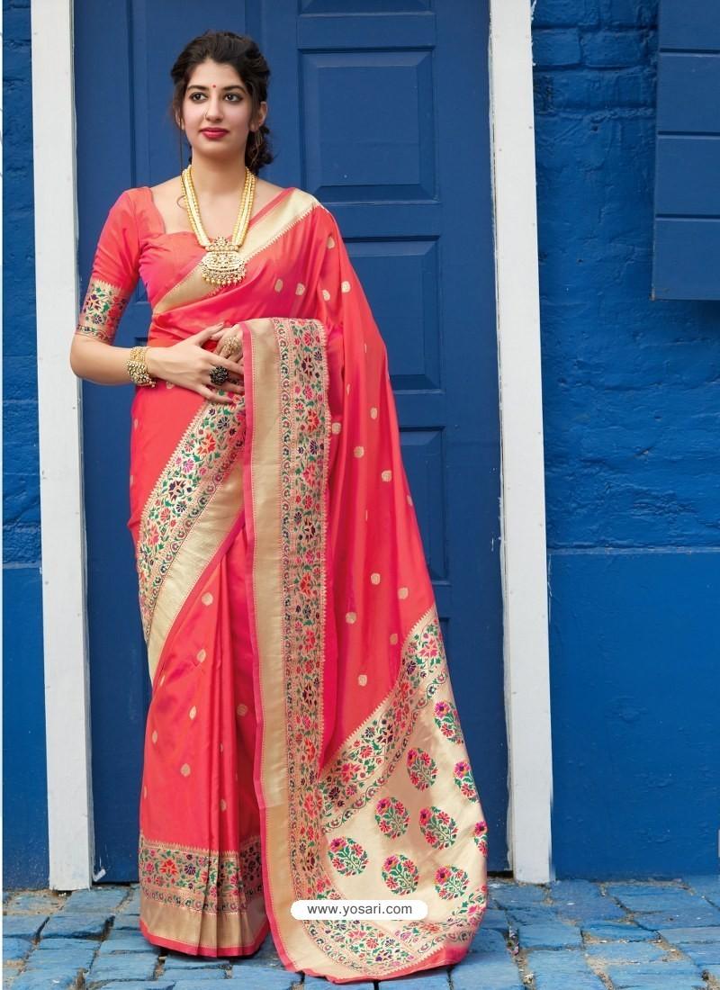 Dark Peach Designer Classic Party Wear Pure Banarasi Silk Sari