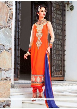 Luxurious Orange Churidar Designer Suit