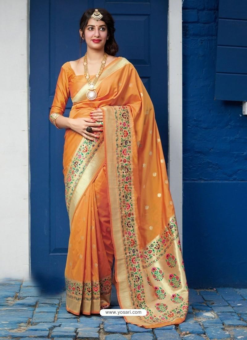 Mustard Designer Classic Party Wear Pure Banarasi Silk Sari