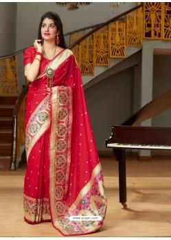 Red Designer Classic Party Wear Pure Banarasi Silk Sari