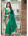 Jade Green Designer Classic Party Wear Pure Banarasi Silk Sari