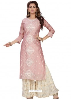 Baby Pink Stylish Readymade Party Wear Salwar Suit