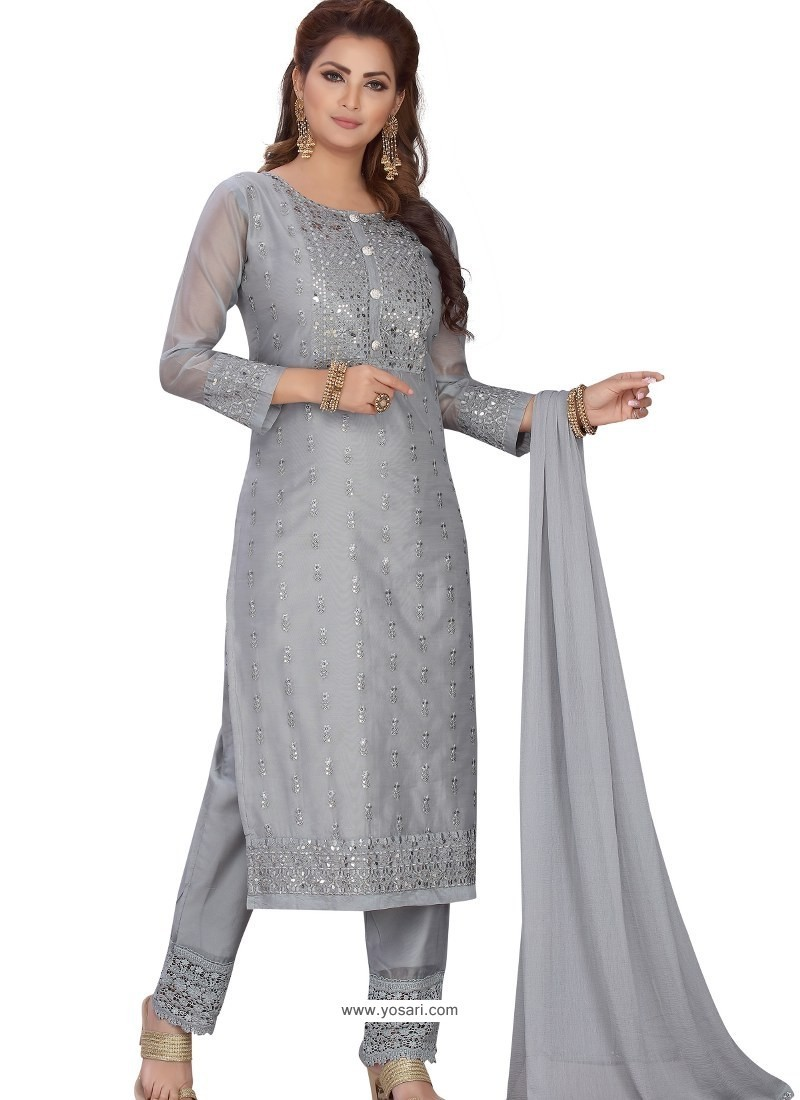 Grey Stylish Readymade Party Wear Salwar Suit