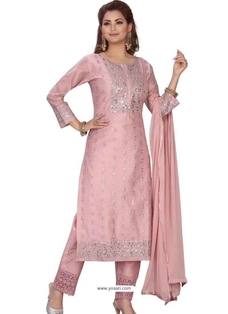 Dusty Pink Stylish Readymade Party Wear Salwar Suit