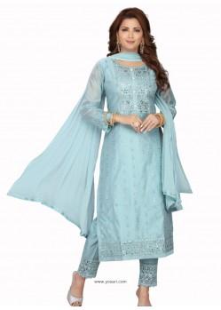 Aqua Grey Stylish Readymade Party Wear Salwar Suit