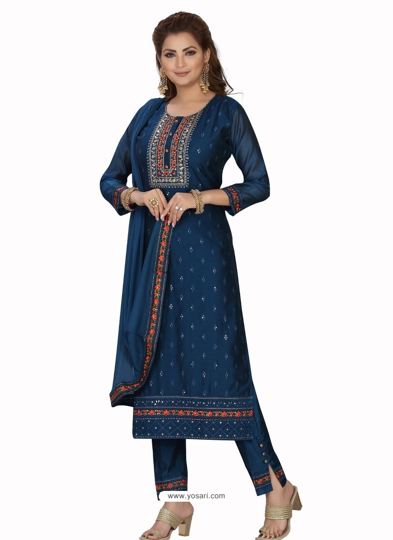 Navy Blue Stylish Readymade Party Wear Salwar Suit
